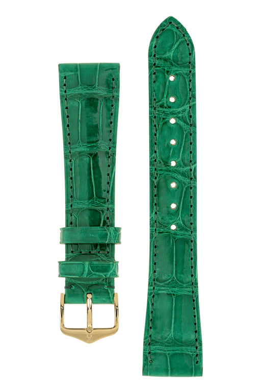 Hirsch LONDON Shiny Alligator Leather Watch Strap in GREEN