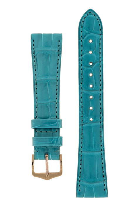 Hirsch LONDON Matt Alligator Leather Watch Strap in TURQUOISE