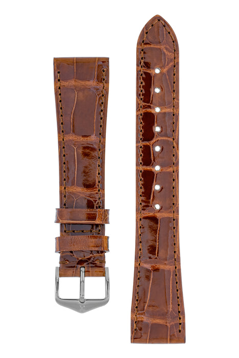 Hirsch LONDON Shiny Alligator Leather Watch Strap in GOLD BROWN