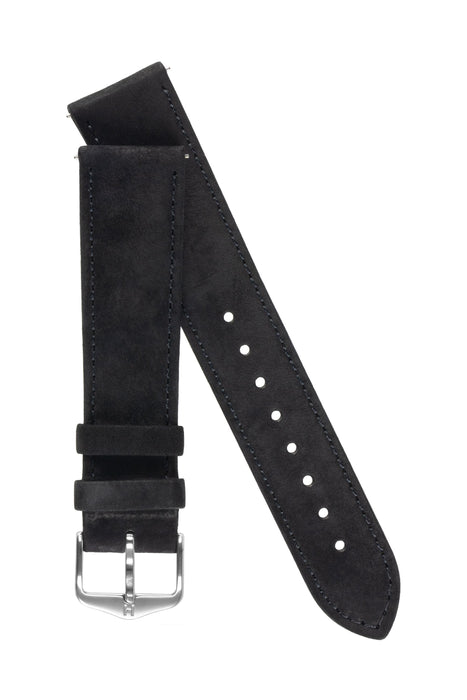 Hirsch OSIRIS Calf Leather With Nubuck Effect Watch Strap in BLACK