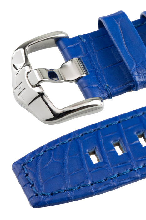 Hirsch TRITONE Padded Alligator Leather Watch Strap in ROYAL BLUE