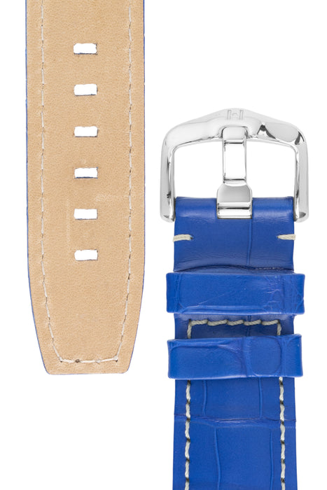 Hirsch TRITONE Padded Alligator Leather Watch Strap in ROYAL BLUE With WHITE Stitching
