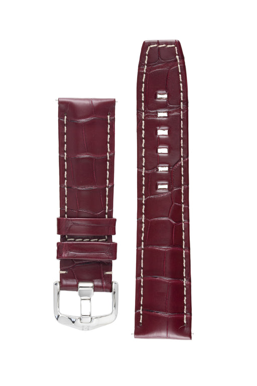 Hirsch TRITONE Padded Alligator Leather Watch Strap in BURGUNDY With WHITE Stitching