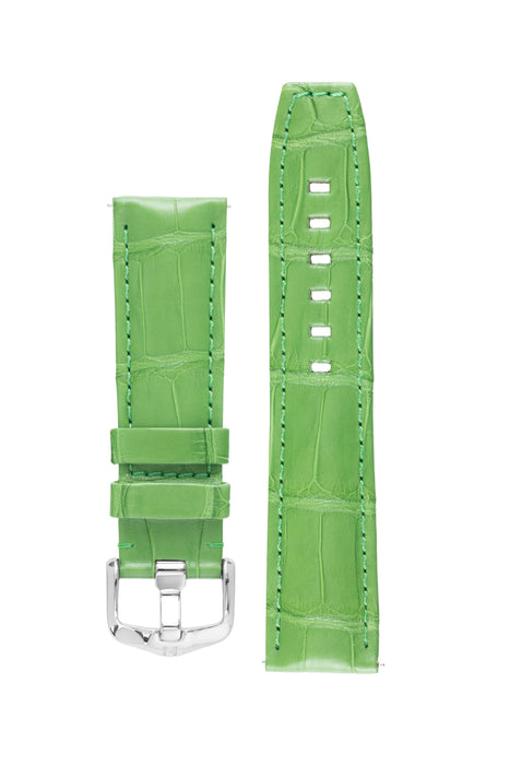 Hirsch TRITONE Padded Alligator Leather Watch Strap in GREEN