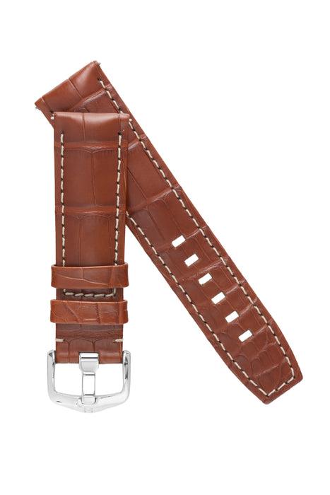 Hirsch TRITONE Padded Alligator Leather Watch Strap in GOLD BROWN With WHITE Stitching