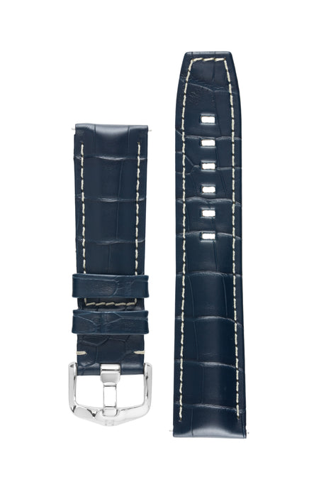 Hirsch TRITONE Padded Alligator Leather Watch Strap in BLUE With WHITE Stitching