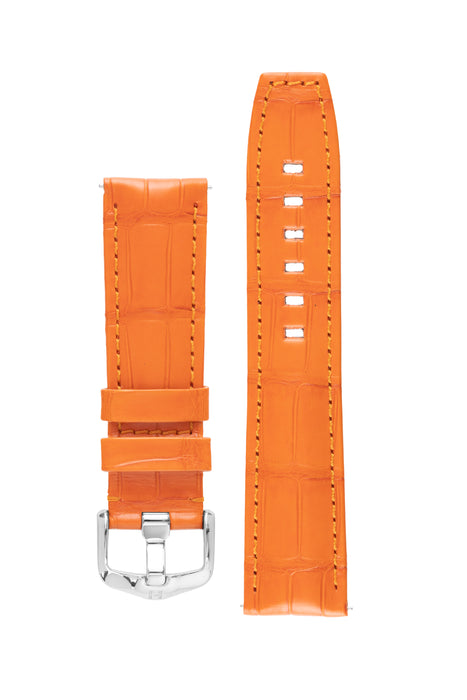 Hirsch TRITONE Padded Alligator Leather Watch Strap in ORANGE