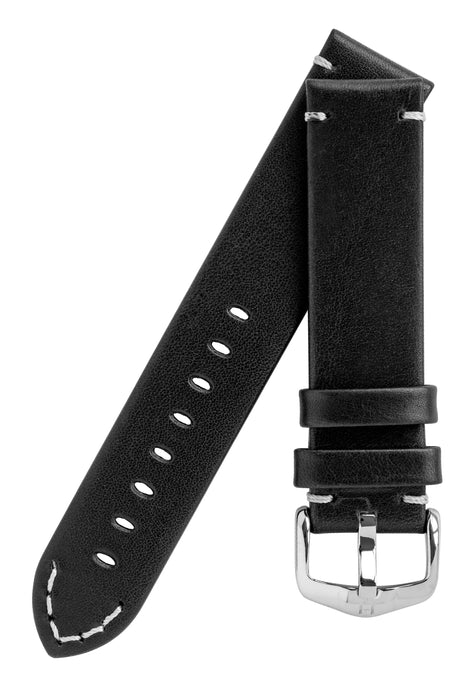 Hirsch RANGER Retro Leather Parallel Watch Strap in BLACK