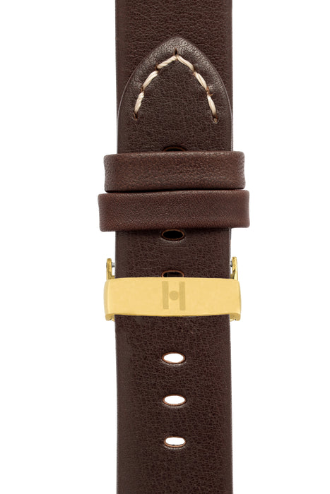 Hirsch RANGER Retro Leather Parallel Watch Strap in BROWN
