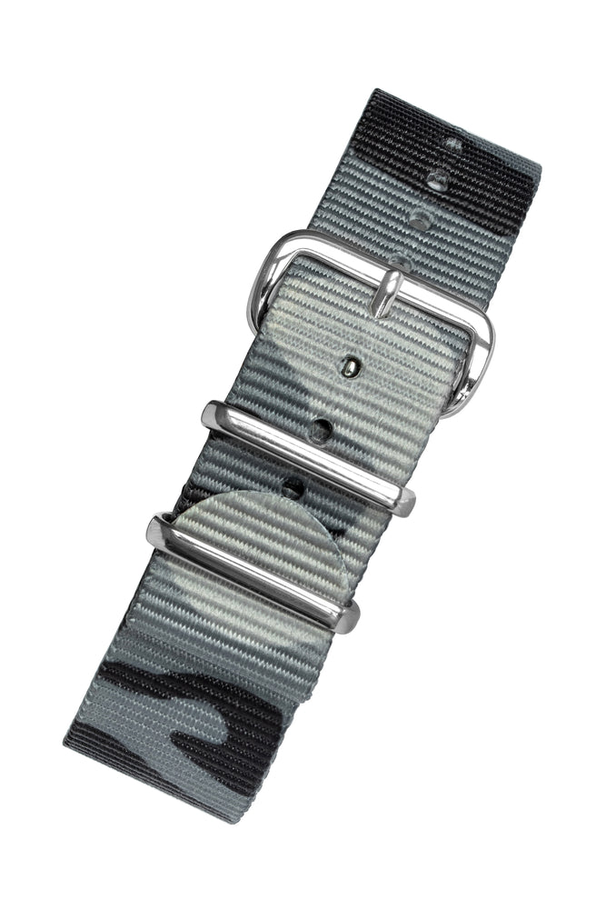 Hirsch RUSH Nylon NATO Watch Strap in GREY CAMOUFLAGE