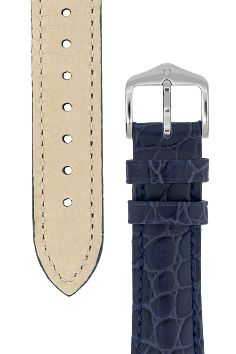 Hirsch ARISTOCRAT Croco-Embossed Leather Watch Strap in BLUE