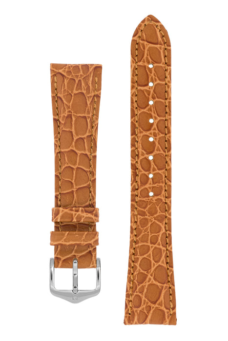 Hirsch ARISTOCRAT Croco-Embossed Leather Watch Strap in GOLD BROWN