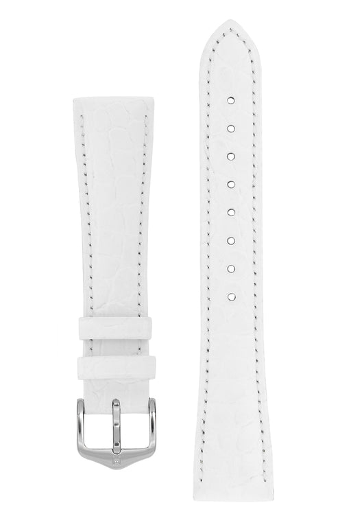 Hirsch ARISTOCRAT Croco-Embossed Leather Watch Strap in WHITE