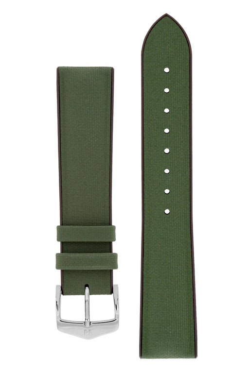 Hirsch ARNE Sailcloth Effect Performance Watch Strap in GREEN / BROWN