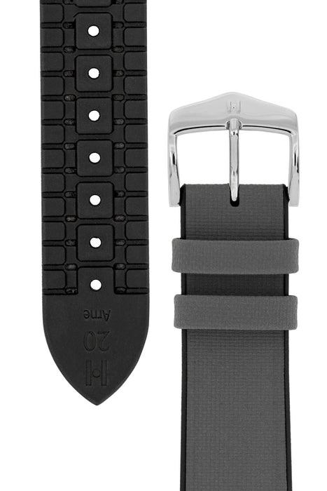 Hirsch ARNE Sailcloth Effect Performance Watch Strap in GREY / BLACK