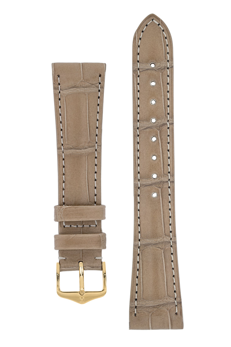 Hirsch LONDON Matt Alligator Leather Watch Strap in BEIGE