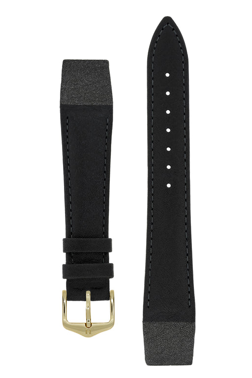 Hirsch CAMELGRAIN Open-Ended No-Allergy Leather Watch Strap in BLACK
