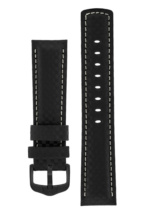 Hirsch CARBON Embossed Water-Resistant Leather Watch Strap in BLACK
