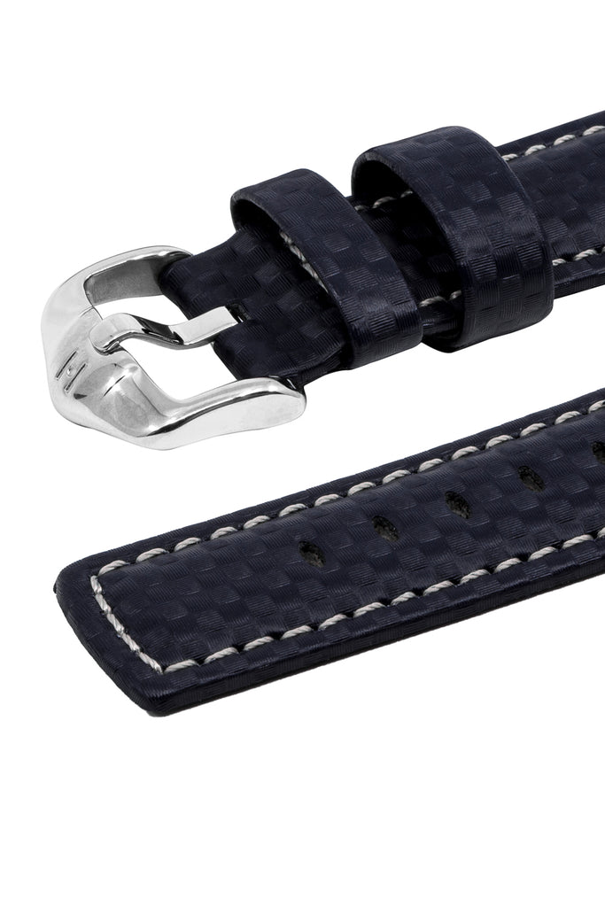 Hirsch CARBON Embossed Water-Resistant Leather Watch Strap in BLUE