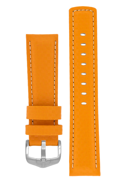 Hirsch CARBON Embossed Water-Resistant Leather Watch Strap in ORANGE