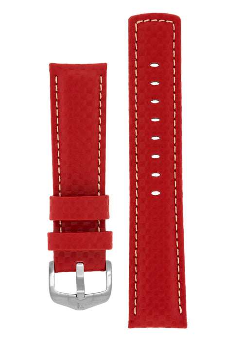 Hirsch CARBON Embossed Water-Resistant Leather Watch Strap in RED