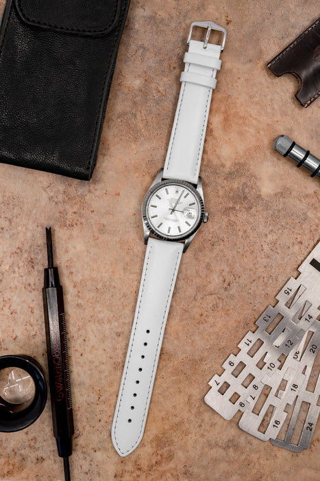 Hirsch CORSE Calf Leather Watch Strap in WHITE