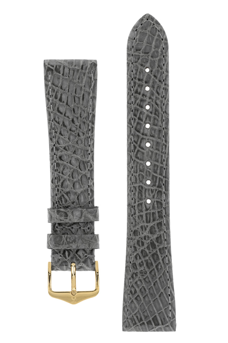 Hirsch GENUINE CROCO Shiny Crocodile Leather Watch Strap in GREY