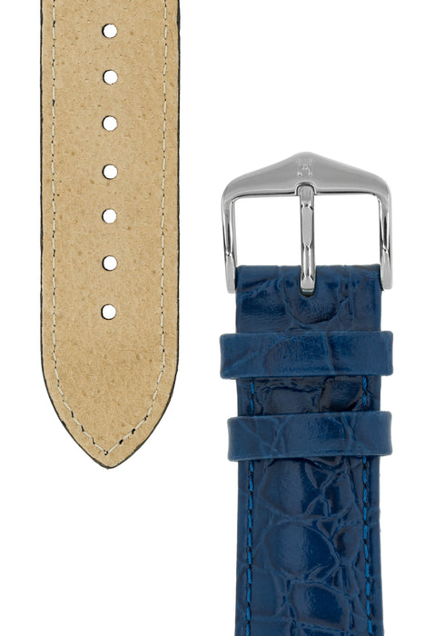 Hirsch CROCOGRAIN Crocodile Embossed Leather Watch Strap in BLUE