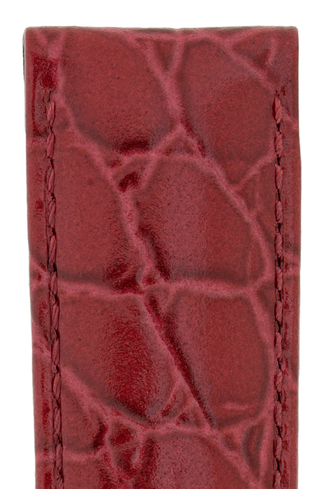 2ad5bcc4a Hirsch CROCOGRAIN Crocodile Embossed Leather Watch Strap in BURGUNDY ...