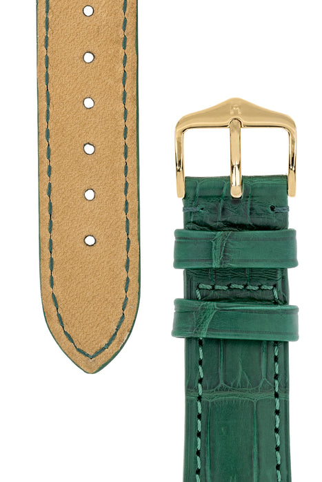 Hirsch LONDON Matt Alligator Leather Watch Strap in DARK GREEN