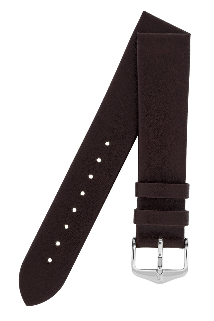 Hirsch DIAMOND CALF Leather Watch Strap in BROWN