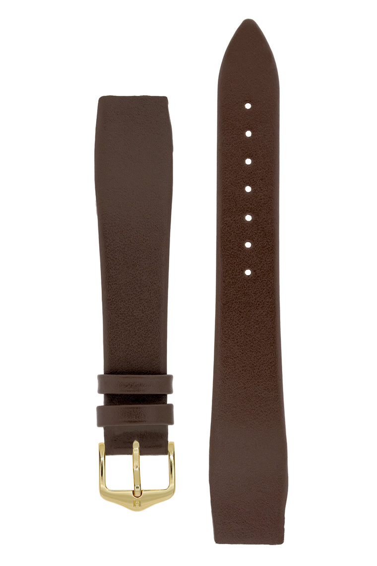Hirsch DIAMOND CALF Open Ended Calf Leather Watch Strap in BROWN
