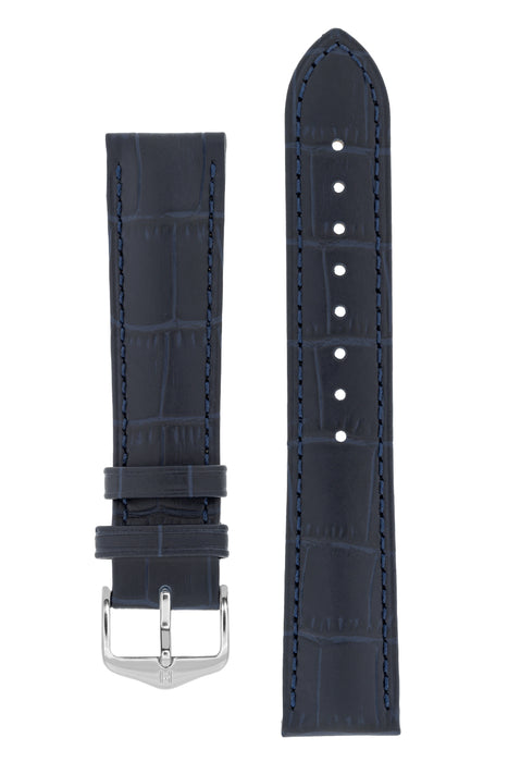 Hirsch DUKE Alligator Embossed Leather Watch Strap in BLUE