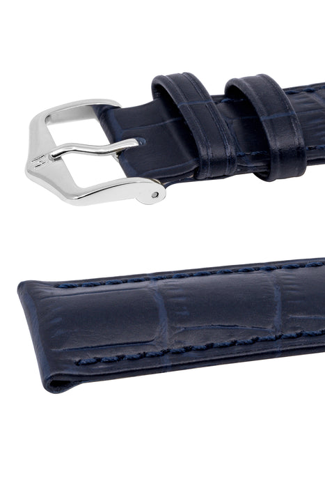 Hirsch DUKE Alligator Embossed Leather Watch Strap in DARK BLUE