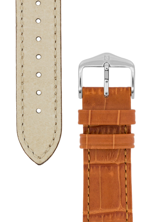 Hirsch DUKE Alligator Embossed Leather Watch Strap in HONEY