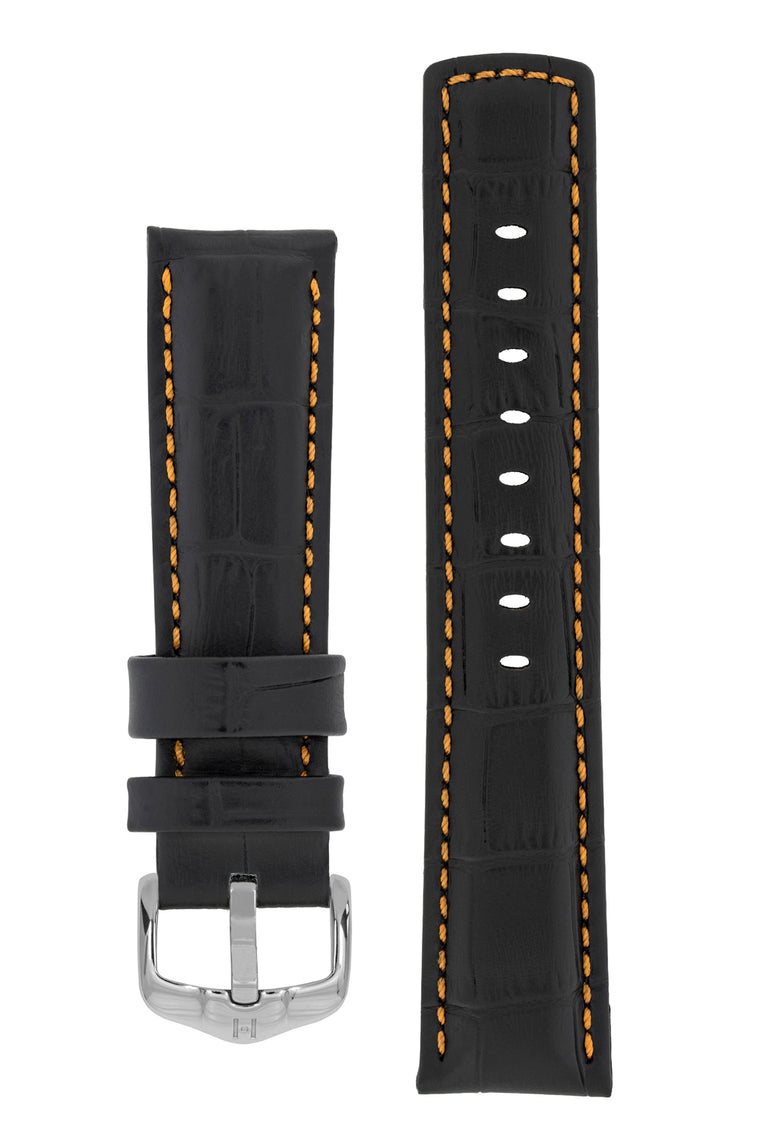 Hirsch GRAND DUKE Water-Resistant Alligator Embossed Sport Watch Strap in BLACK / ORANGE