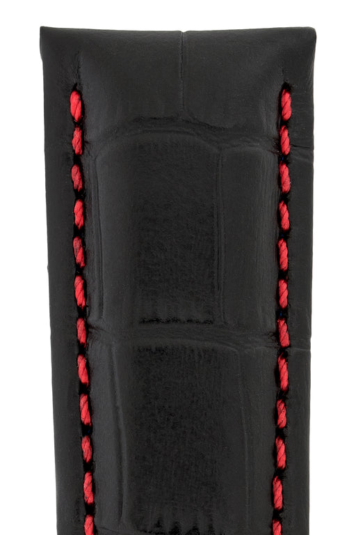 Hirsch GRAND DUKE Water-Resistant Alligator Embossed Sport Watch Strap in BLACK / RED