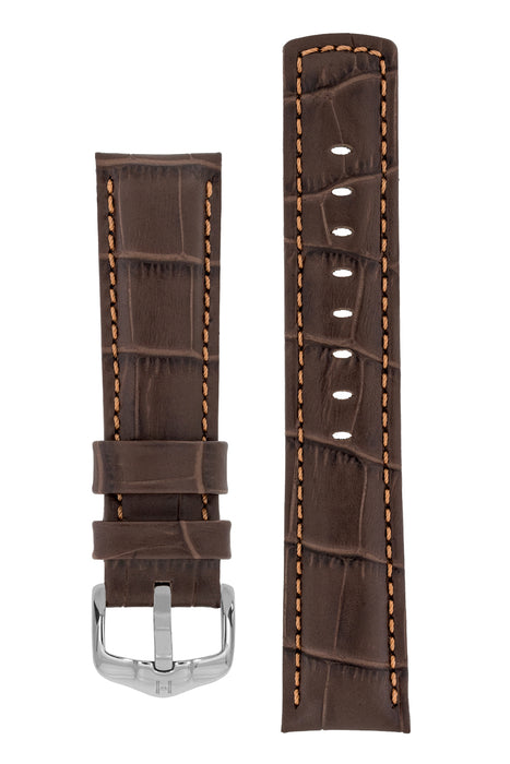 Hirsch GRAND DUKE Water-Resistant Alligator Embossed Sport Watch Strap in BROWN