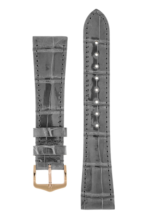Hirsch LONDON Shiny Alligator Leather Watch Strap in GREY