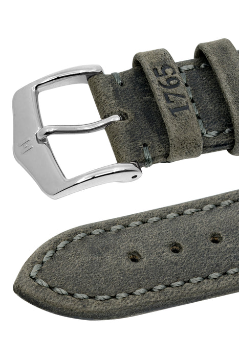 Hirsch HERITAGE Natural Calfskin Leather Watch Strap in ANTHRACITE