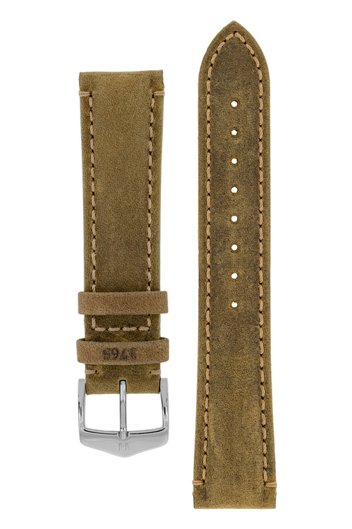Hirsch HERITAGE Natural Calfskin Leather Watch Strap in GOLD BROWN