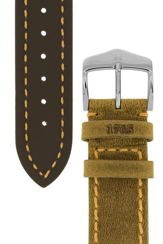 Hirsch HERITAGE Natural Calfskin Leather Watch Strap in HONEY