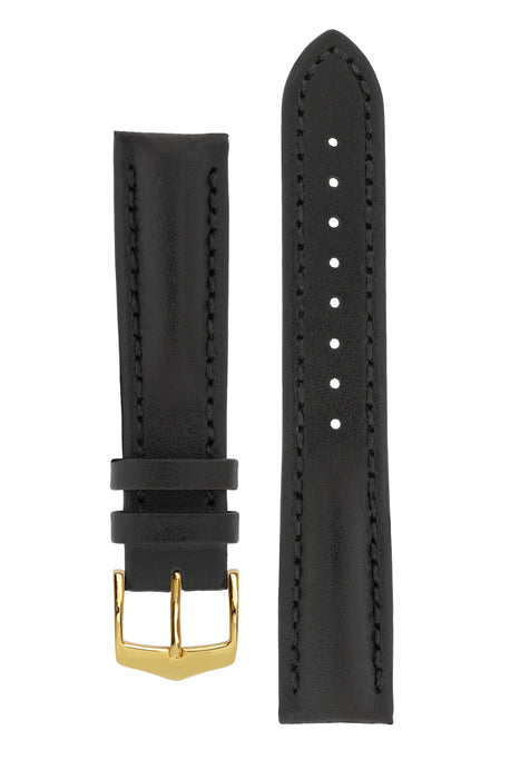 Hirsch HEAVY CALF Water-Resistant Calf Leather Watch Strap in BLACK / BLACK