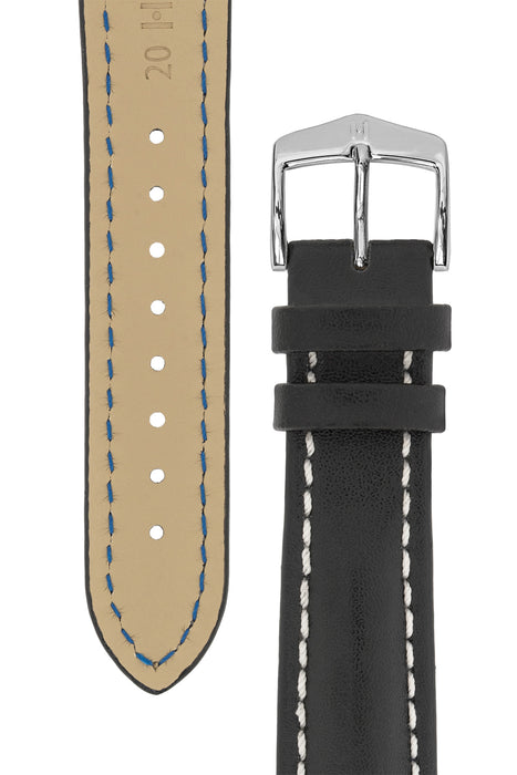 Hirsch HEAVY CALF Water-Resistant Calf Leather Watch Strap in BLACK / WHITE
