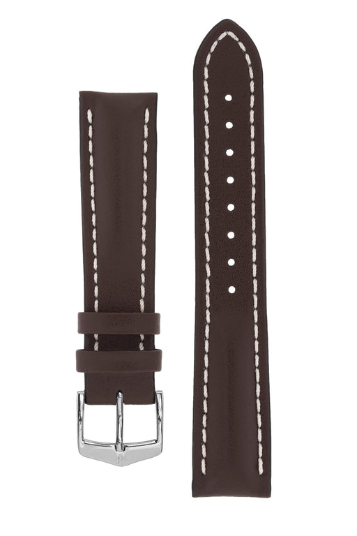 Hirsch HEAVY CALF Water-Resistant Calf Leather Watch Strap in BROWN