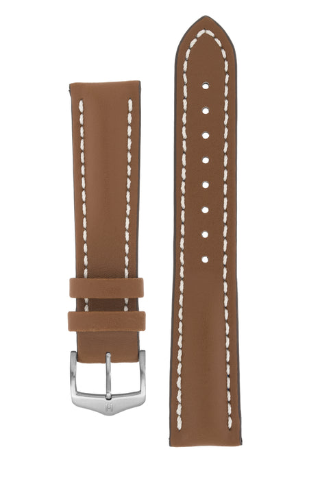 Hirsch HEAVY CALF Water-Resistant Calf Leather Watch Strap in GOLD BROWN