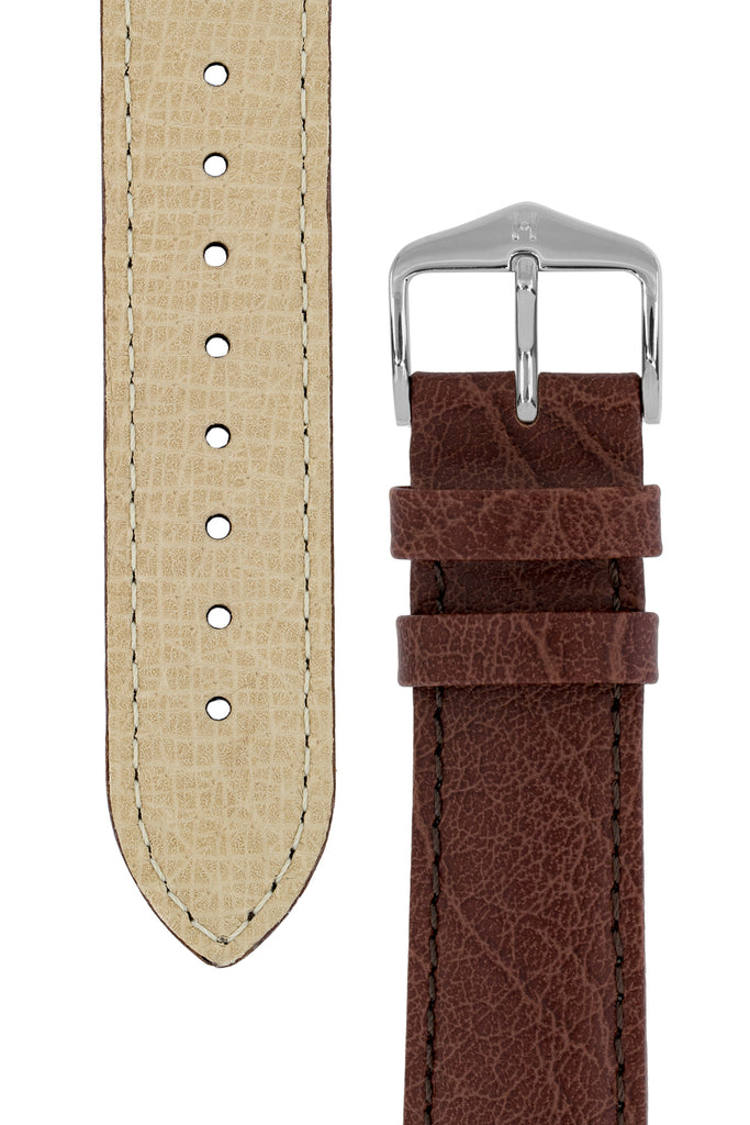 Hirsch HIGHLAND Calf Leather Watch Strap in BROWN