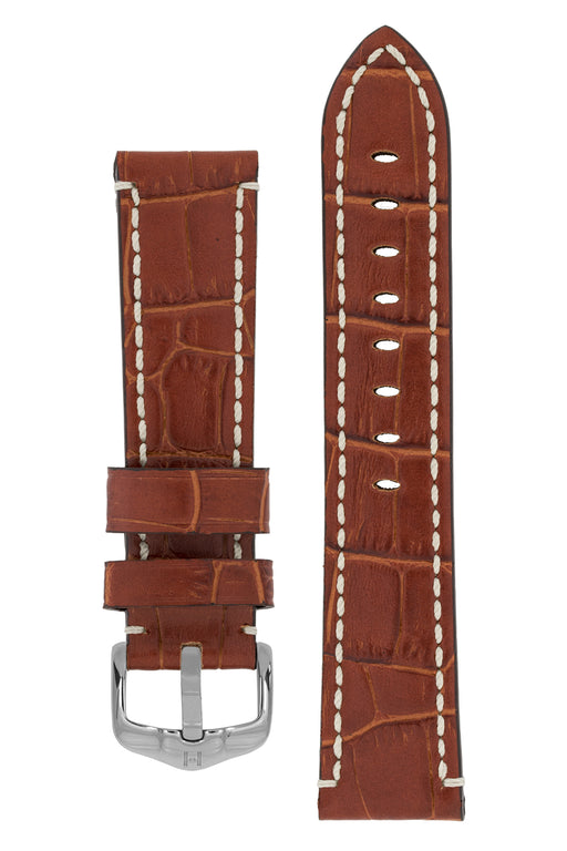 Hirsch KNIGHT Alligator Embossed Leather Watch Strap in GOLD BROWN