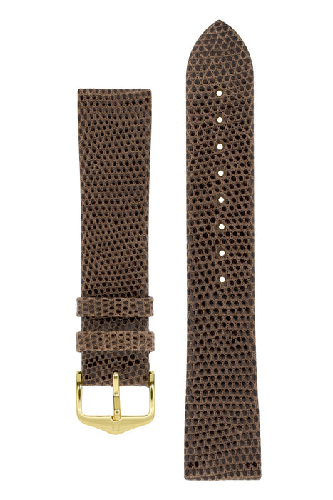 Hirsch LIZARD Leather Watch Strap in BROWN