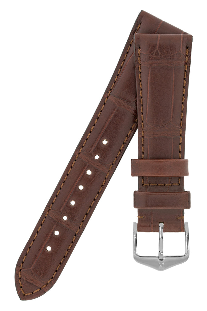 Hirsch LONDON Matt Alligator Leather Watch Strap in BROWN